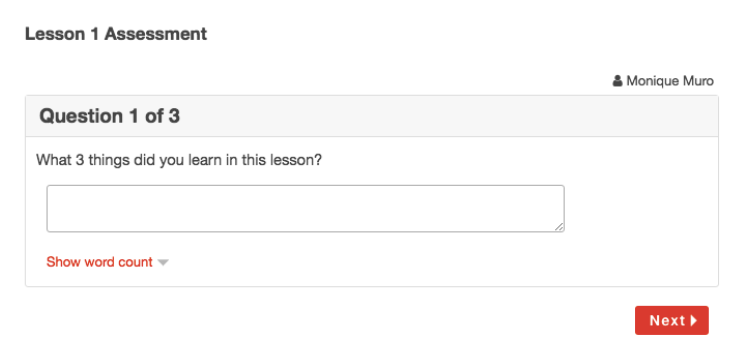 Example Assessment to Check for Understanding in Online Course